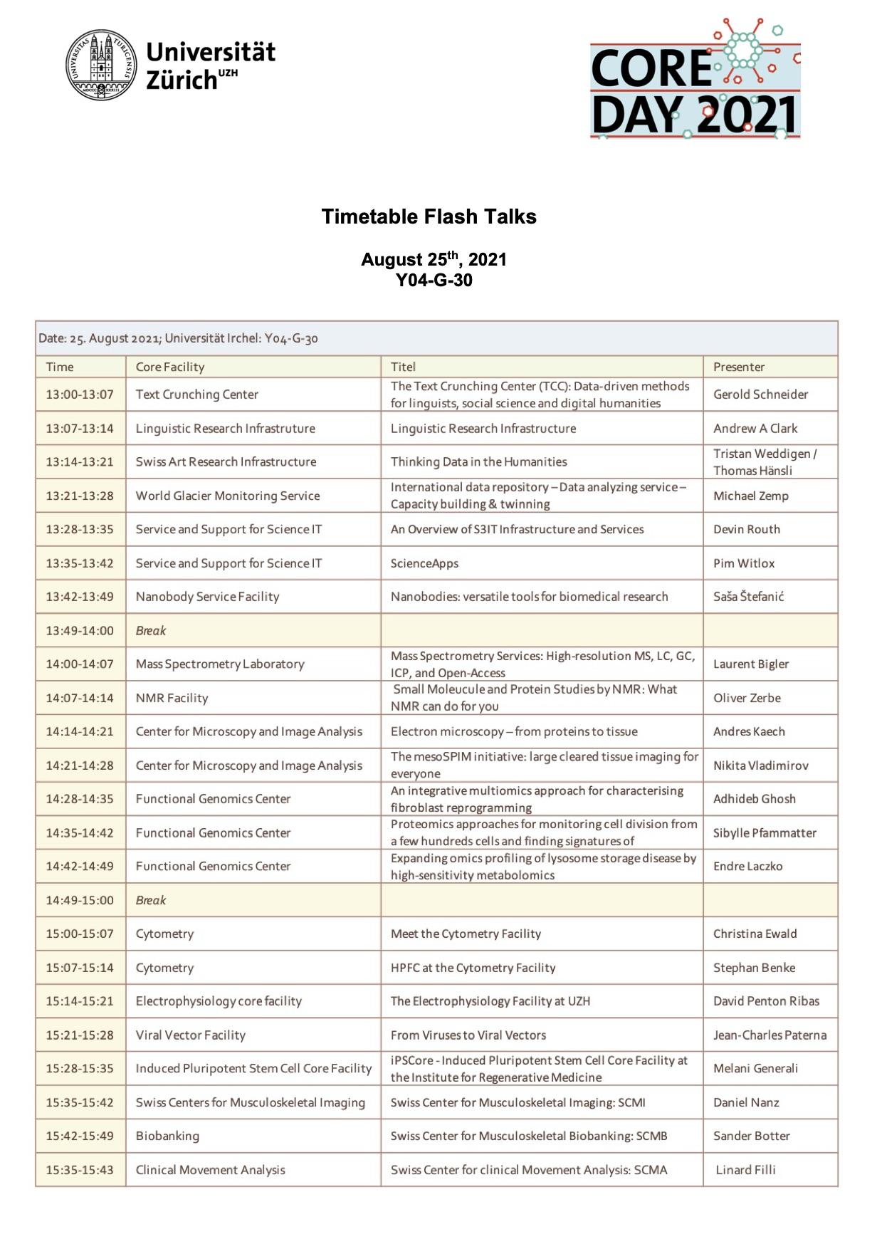 Schedule Flash Talks